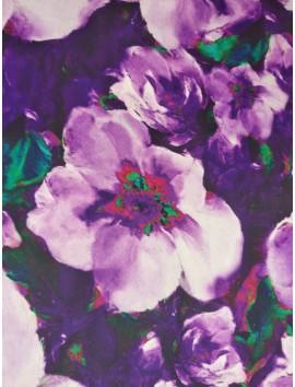 Satén estampado flores moradas