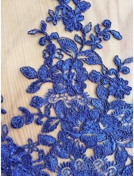 Tul Bordado flores azules