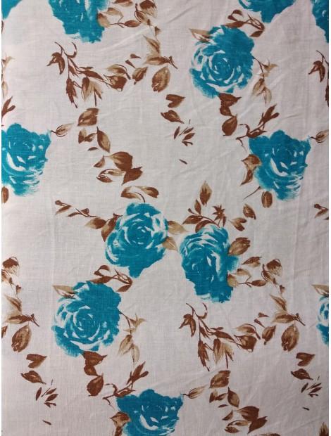 Lino estampado flores azules