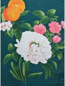 Lino estampado flores y naranjas