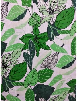 Lino estampado hojas verdes