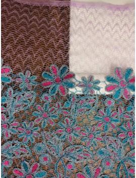 Encaje floral turquesa y fucsia