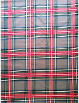 Cuadros Escoceses gris verdoso, rayas rojas