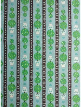 Algodón Patchwork topiario fondo azul