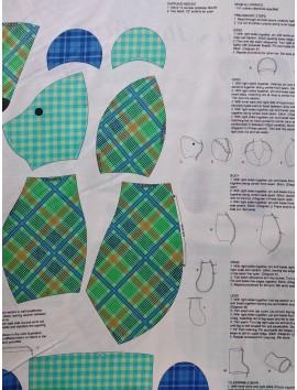 Algodón Patchwork panel osito verde y azul