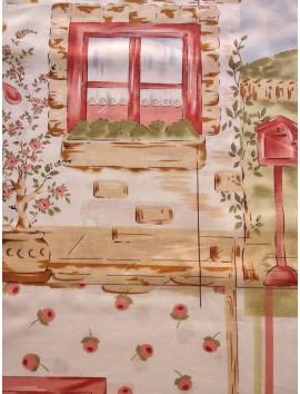 Panel Algodón Patchwork casa campo