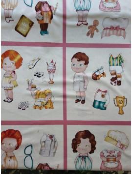 Panel Algodón Patchwork muñecos oficios