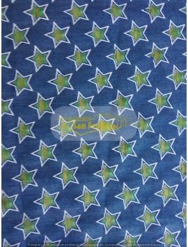 Tela vaquera ,  azul estrellas verdes (devore)