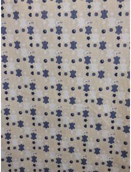 Piqué puzzle azul y beige