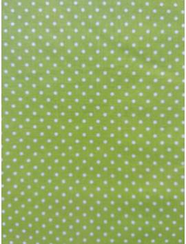 Algodón popelín verde, topo blanco
