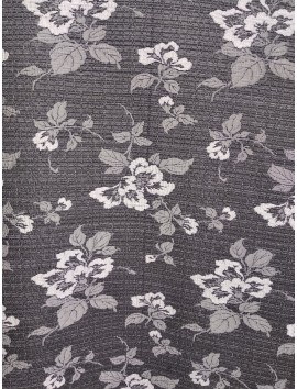 Brocado negro floral antracita