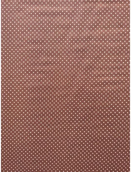 Algodón marrón topitos blancos (lunares)