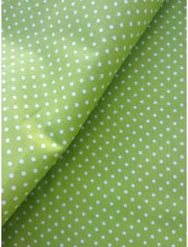 Algodón verde topitos blancos (lunares)