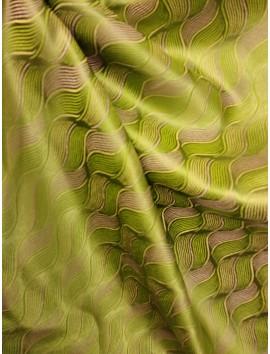 Brocado ondas verde y dorado