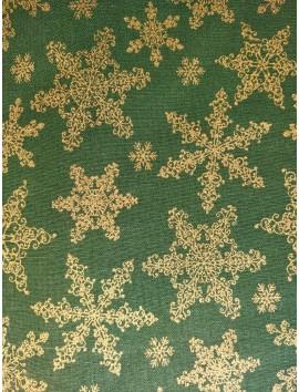 Algodón Patchwork verdes estrellas y flores