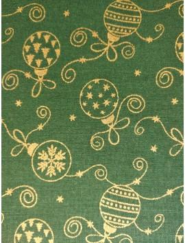 Algodón Patchwork verde bolas de navidad