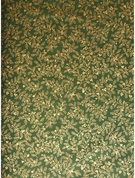 Algodón Patchwork verde acebo dorado