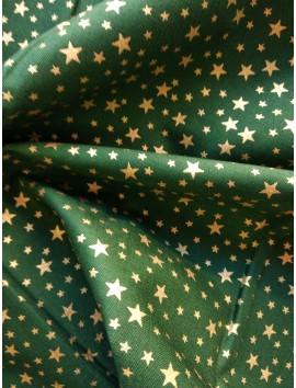 Algodón Patchwork verde estrellas