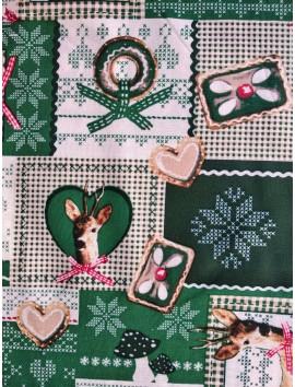 Algodón Patchwork verde ciervos y navidad