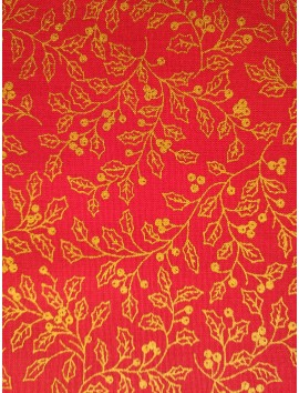 Algodón Patchwork rojo hojas deoradas