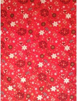 Algodón Patchwork rojo bolas y copos
