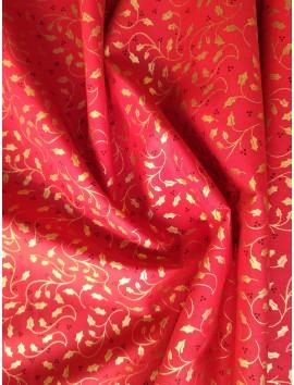 Algodón Patchwork rojo hojas doradas