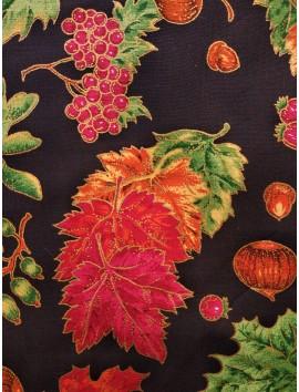 Popelín Navidad hojas y frutos