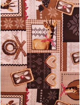 Popelín Navidad ciervos, marrón