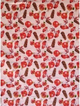 Popelín Navidad bolas rojas y piñas