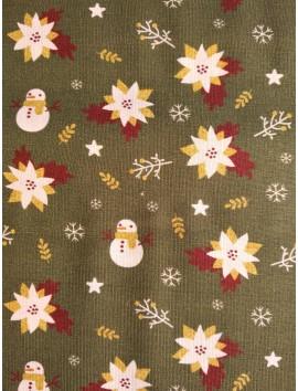 Popelín Navidad muñecos de nieve y flores