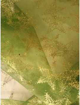 Tul verde estrellas doradas