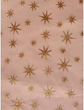Tul blanco estrellas doradas