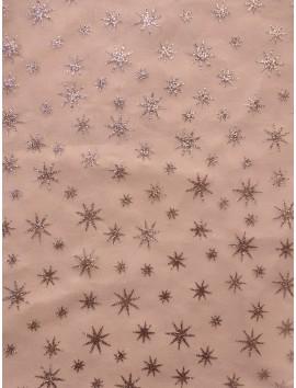 Tul blanco estrellas plata