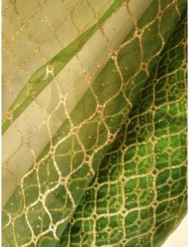 Tul verde rombos dorados