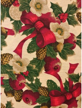 Loneta de Navidad manzanas y lazos