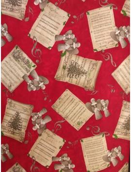 Loneta de Navidad angeles y partituras
