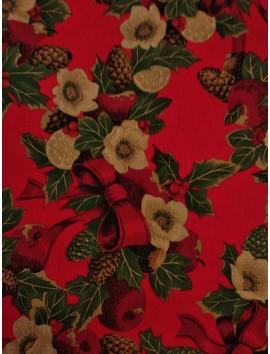 Loneta de Navidad roja, manzanas y piñas