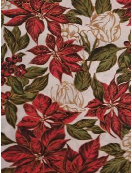 Loneta de Navidad , flor de pascua y hojas