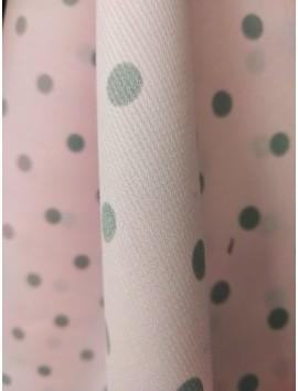 Piqué Canutillo Rosa con Lunares grises