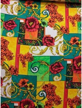 Viscosa estampado cuadros y flores