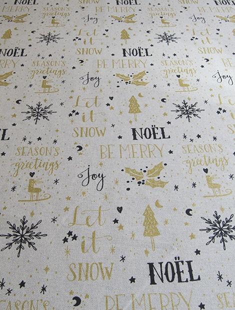 Loneta Mantel de Navidad Estampado Dorado y Negro