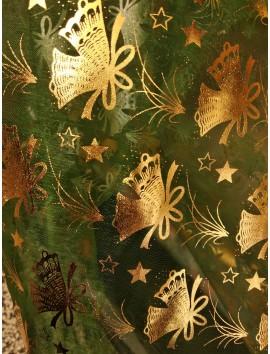 Organza de navidad verde con campanas