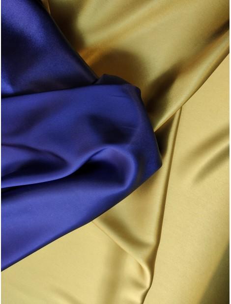Satén de triacetato dos caras, azul y amarillo
