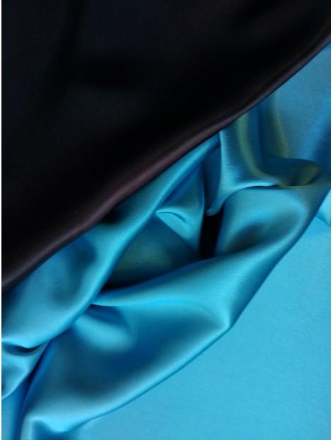 Satén de triacetato dos caras, azul cielo y negro