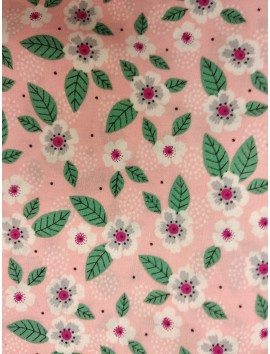 Algodón  patchwork flores fondo rosa