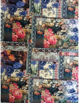 Terciopelo estampado cuadros floral