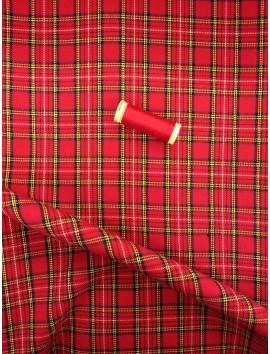 Cuadros Escoceses rojos, raya blanca y amarilla