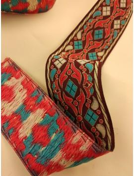 Cinta jacquard rojo y turquesa c29 - 4cm