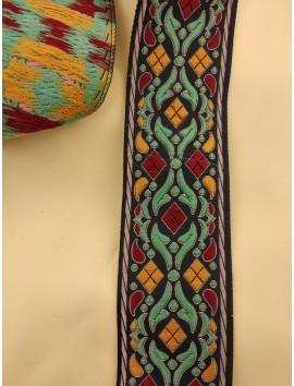 Cinta jacquard mostaza y turquesa c29 - 4cm