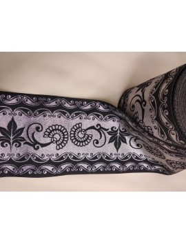 Cinta jacquard negra y plata c34 - 6,8 cm